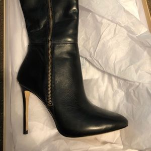Michael Kors Black Knee High Leather Boots - New